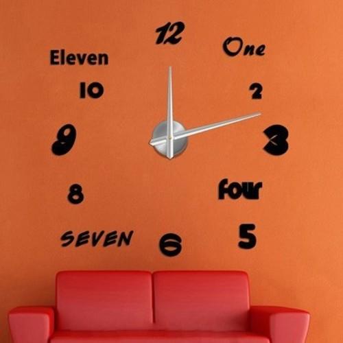 Часы настенные S007 черные Clok