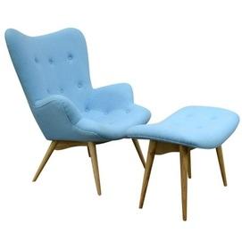 Кресло Флорино с пуфом голубое Mebelmodern