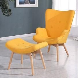 Кресло Флорино с табуреткой желтое Mebelmodern