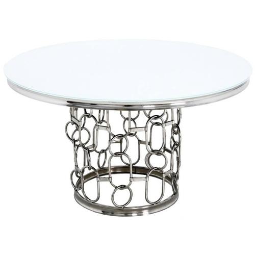Стол обеденный 130cm TH522-6 белый+серебро Glamoorzee