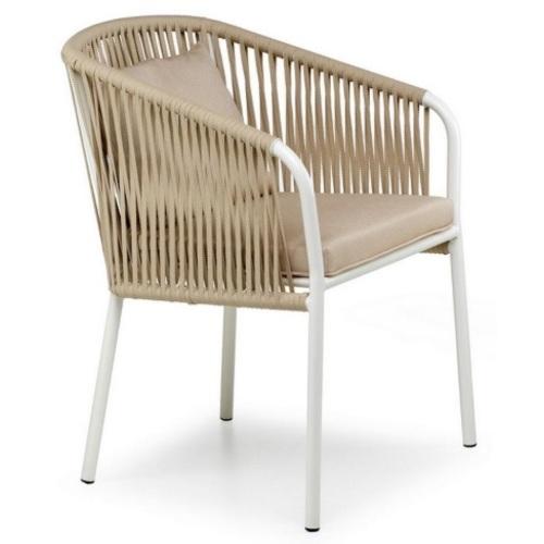 Кресло Твист бежевое+белый каркас Pradex