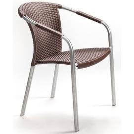 Стул с подлокотниками Кафе-Блюз коричневое+алюминий Pradex
