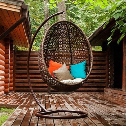 Кресло качалка Кокон коричневое Pradex