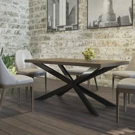 Стол обеденный Икс натуральный Металл Дизайн