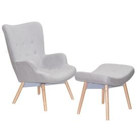 Кресло Флорино с табуреткой серое Mebelmodern 2021