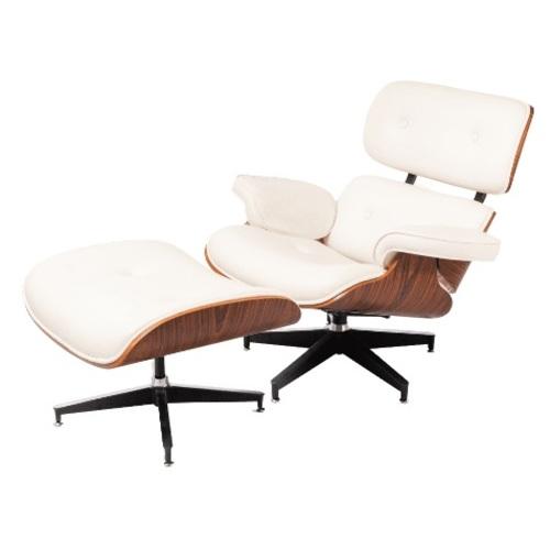 Кресло Eames lounge с оттоманкой белое iCOO