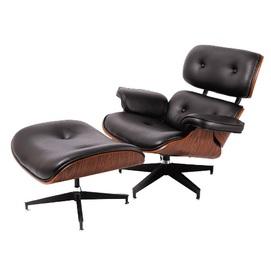 Кресло Eames lounge с оттоманкой черное iCOO