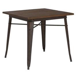 Стол обеденный Tolix MC-80W 80х80 графит+столешница дерево темный орех Primel