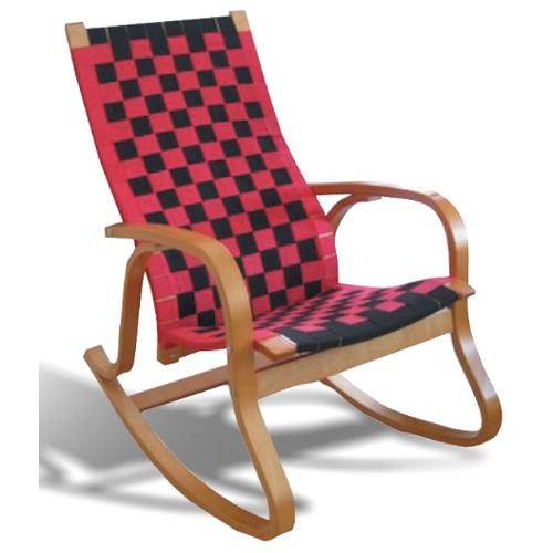 Кресло качалка A-3003 красно-черная Peijan