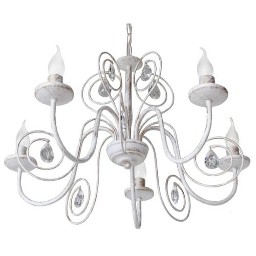 Люстра Верона с хрусталем на 5 ламп белый LiteKraft