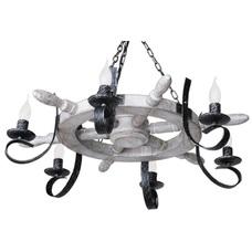 Люстра Штурвал Старый 6 ламп белый+черный LiteKraft