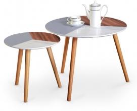 Набор столиков MULTI коричневый+белый Halmar
