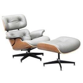 Кресло Релакс с оттоманкой серый Mebelmodern
