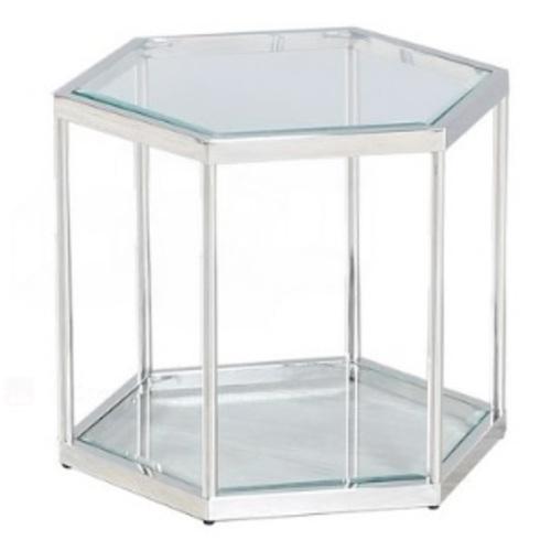 Стол журнальный CK-2 прозрачный+серебро Verde 2020