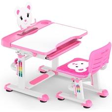 Комплект парта и стульчик Evo-Kids BD-04 Teddy (без лампы)  бело-розовый Mealux