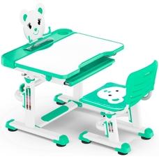 Комплект парта и стульчик Evo-Kids BD-04 Teddy (без лампы)  бело-бирюзовый Mealux