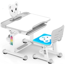 Комплект парта и стульчик Evo-Kids BD-04 Teddy (без лампы)  бело-серый Mealux