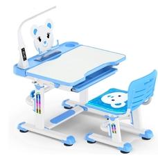 Комплект парта и стульчик Evo-Kids BD-04 Teddy (с LED лампой) бело-голубой Mealux