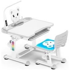 Комплект парта и стульчик Evo-Kids BD-04 Teddy (с LED лампой) бело-серый Mealux
