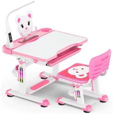 Комплект парта и стульчик Evo-Kids BD-04 Teddy (с LED лампой) бело-розовый Mealux