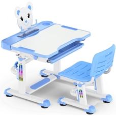 Комплект парта и стульчик Evo-Kids BD-04 XL Teddy (без лампы)  бело-голубой Mealux