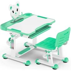 Комплект парта и стульчик Evo-Kids BD-04 XL Teddy (без лампы)  бело-бирюзовый Mealux