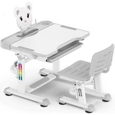 Комплект парта и стульчик Evo-Kids BD-04 XL Teddy (без лампы)  бело-серый Mealux