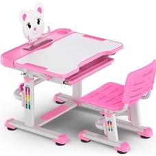 Комплект парта и стульчик Evo-Kids BD-04 XL Teddy (без лампы)  бело-розовый Mealux