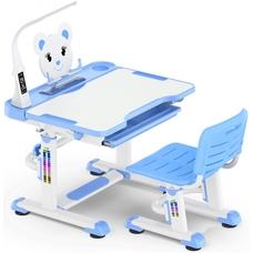 Комплект парта и стульчик Evo-Kids BD-04 XL Teddy (с LED лампой) бело-голубой Mealux