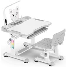 Комплект парта и стульчик Evo-Kids BD-04 XL Teddy (с LED лампой) бело-серый Mealux
