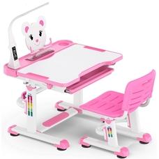 Комплект парта и стульчик Evo-Kids BD-04 XL Teddy (с LED лампой) бело-розовый Mealux