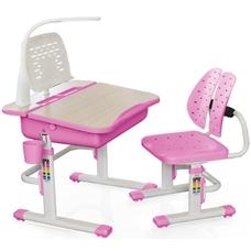 Комплект парта и стульчик Evo-kids Evo-03 (с LED лампой) бело-розовый Mealux