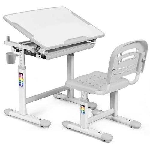 Комплект парта и стульчик Evo-kids Evo-06 бело-серый Mealux