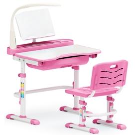 Комплект парта и стульчик Evo-kids Evo-17 (с LED лампой) бело-розовый Mealux
