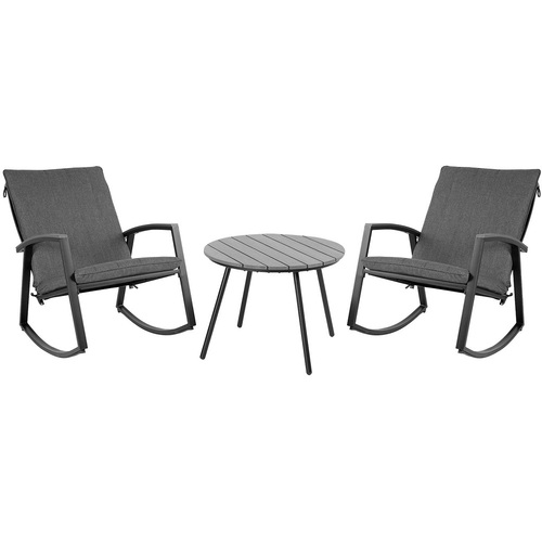 Комплект LOKI стол кофейный и 2 стула 20584 серый Garden4You