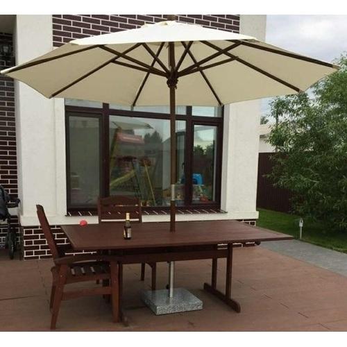Зонт деревянный Де Люкс  без воланов D 3 м кремовый OUTDOOR