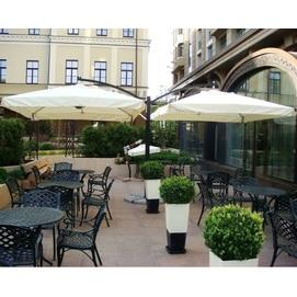 Зонт алюминиевый консольный DOUBLE XL- 6 х 3 м кремовый с двумя куполами на стойке OUTDOOR