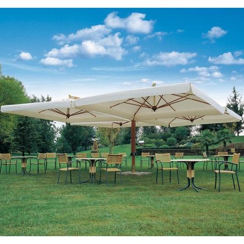 Зонт алюминиевый консольный QUADRO XL- 6 х 6 м кремовый с 4-мя куполами OUTDOOR