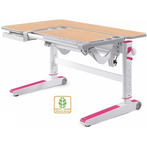 Детский стол (парта) Kingwood D-820 MG/PN клен/серый/розовый Mealux
