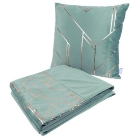 Набор подушка+плед Prisma 125 LOOTI-MNT бирюзовый Kayoom