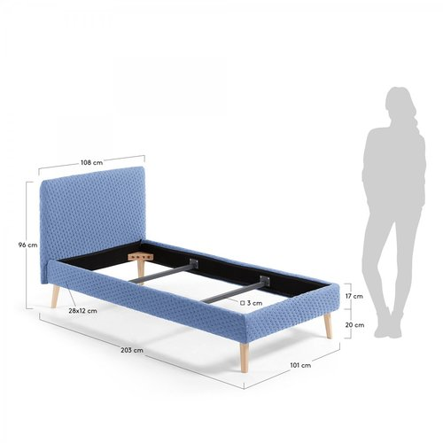 Кровать LYDIA 90x190см D037MO27 голубой Laforma