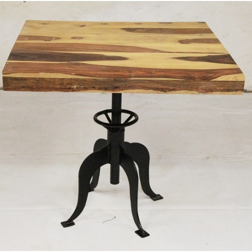 Стол квадратный тёмно-коричневый IRON BASE TABLE LOFT 76×80×80 шишам Ganesha