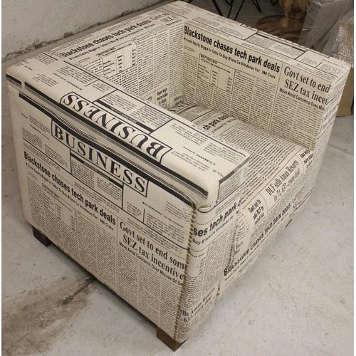 Кресло WOODEN CANVAS Газета 84×84×89 с принтом