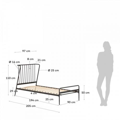 Кровать Narlu D176090190R02 черный Laforma