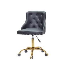 Стул офисный theXATA-2021 Olimp o007 черный кожзам на золотых ножках с колесиками
