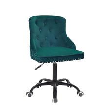 Стул офисный theXATA-2021 Olimp 13203 зеленый бархат на черных ножках с колесиками