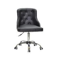 Стул офисный theXATA-2021 Olimp 13195 черный кожзам на хромированых ножках с колесиками