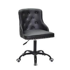 Стул офисный theXATA-2021 Olimp 13200 черный кожзам на черных ножках с колесиками