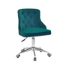 Стул офисный theXATA-2021 Olimp 13291 зеленый бархат на хромированых ножках с колесиками