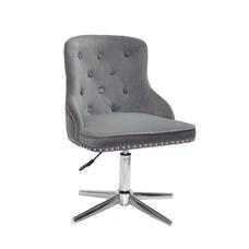 Стул офисный theXATA-2021 Olimp 13187 серый бархат на хромированных ножках
